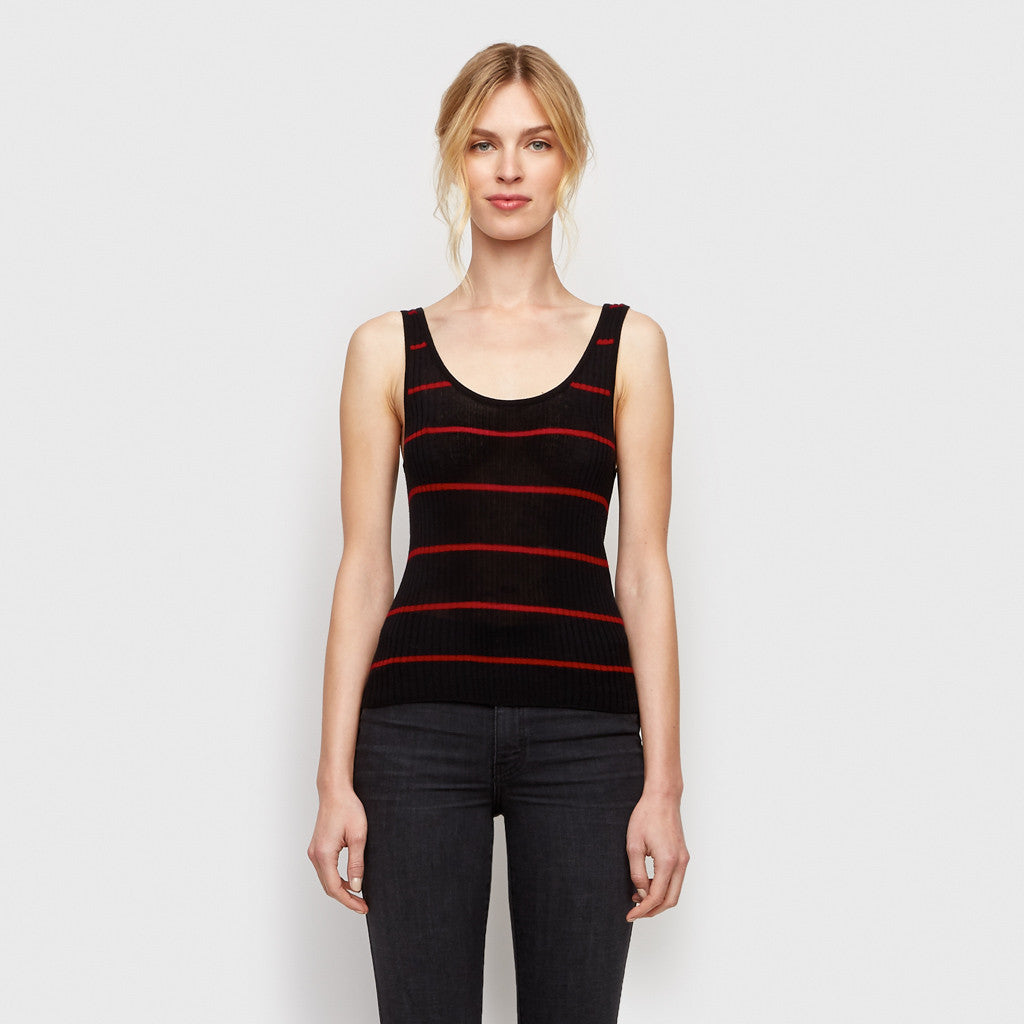 Cashmere Jersey Striped Ribbed Tank - Black/Red