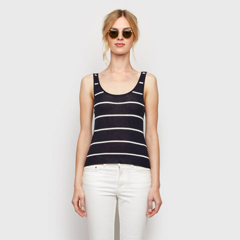 Cashmere Jersey Striped Ribbed Tank - Navy/Ivory