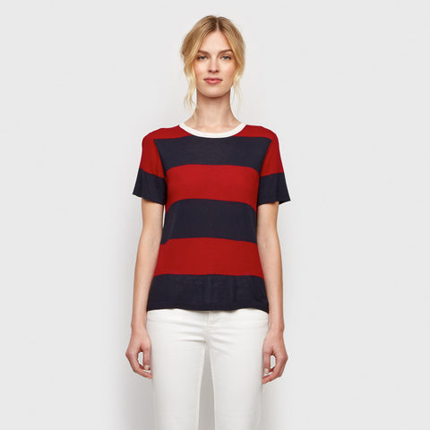 Cashmere Jersey Stripe Tee - Red/Navy/Ivory