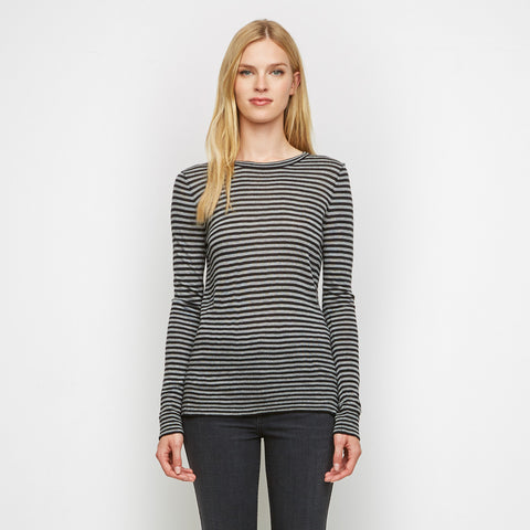Cashmere Jersey Striped Long Sleeve Tee - Black/Grey