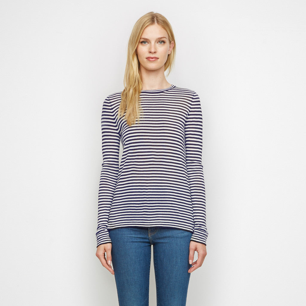 Cashmere Jersey Striped Long Sleeve Tee - Navy/White