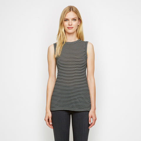Cashmere Jersey Striped Shell Tank - Black/Grey