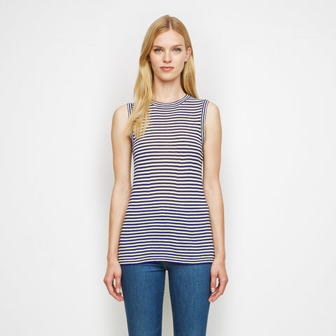 Cashmere Jersey Striped Shell Tank - Navy/White