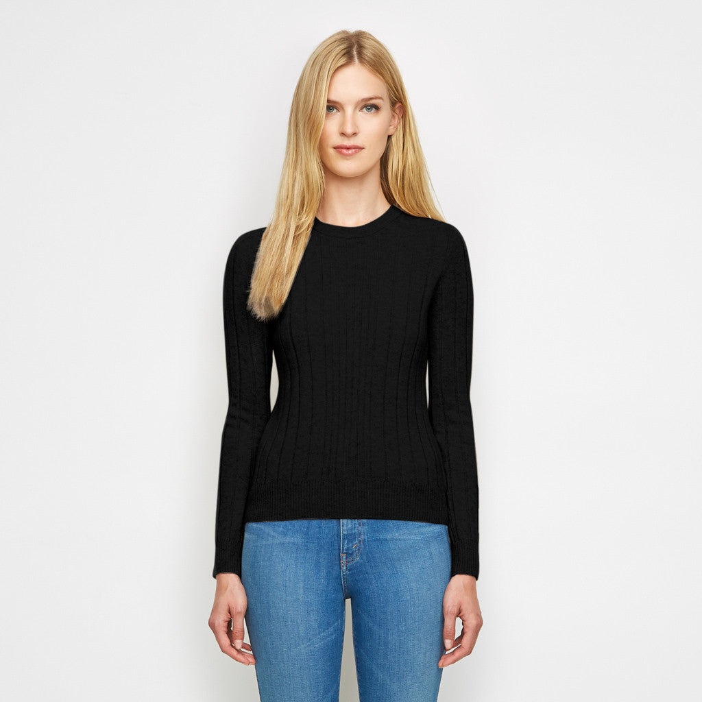 Cashmere Mix Ribbed Crewneck Sweater - Black