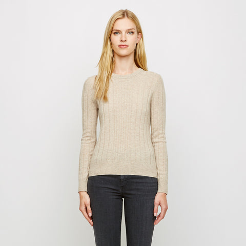Cashmere Mix Ribbed Crewneck Sweater - Oatmeal
