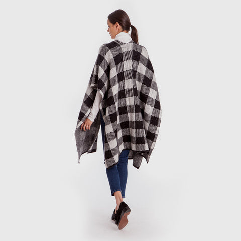 Cashmere Plaid Poncho Sweater - Black/Ivory
