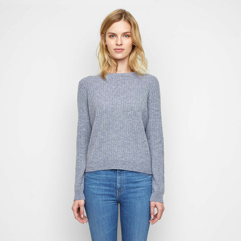 Cashmere Ribbed Crewneck Sweater - Heather Grey