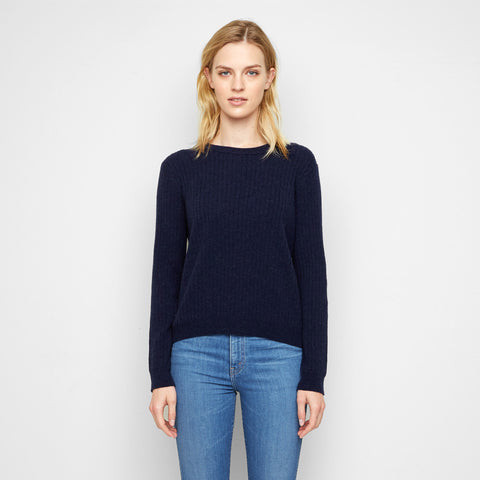 Cashmere Ribbed Crewneck Sweater - Navy