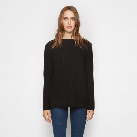 Rib Knit Cashmere Open Back Sweater - Black