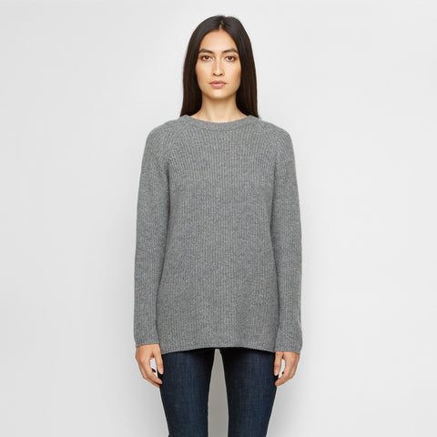 Rib Knit Cashmere Open Back Sweater - Heather Grey