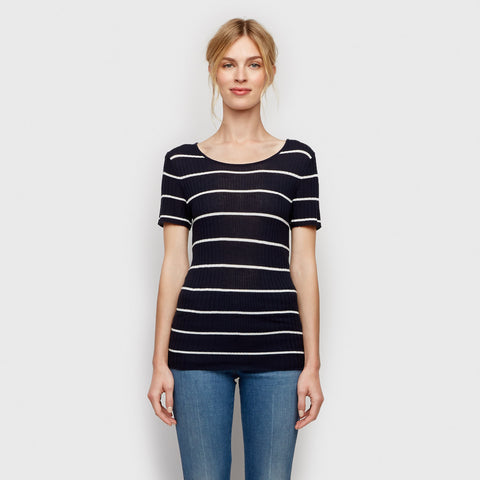 Cashmere Jersey Ribbed Tee - Navy/Ivory