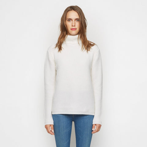 Cashmere Ribbed Turtleneck Sweater - Ivory