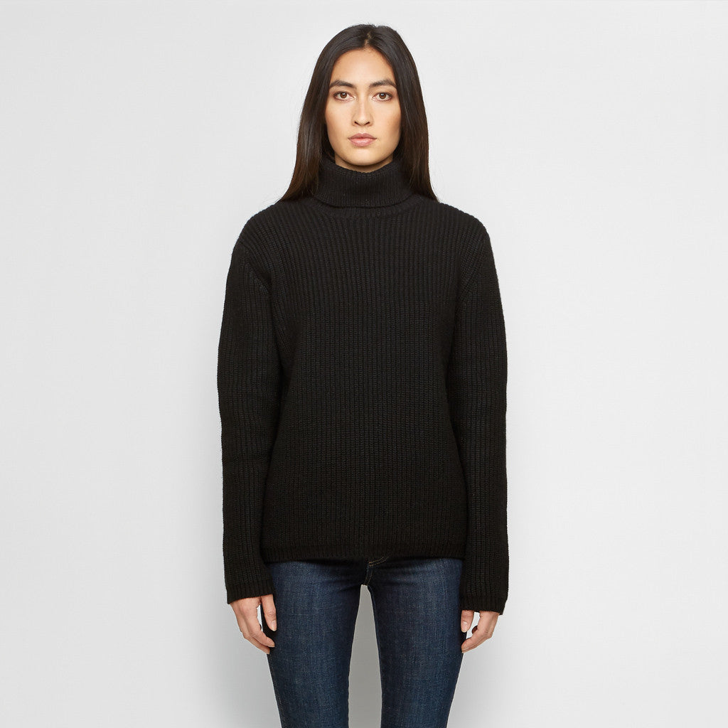 Cashmere Ribbed Turtleneck Sweater - Black