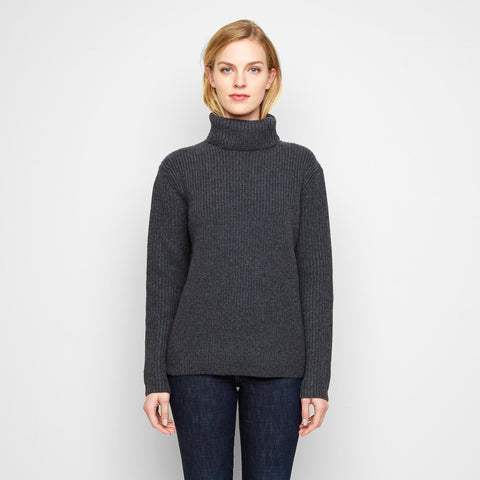 Cashmere Ribbed Turtleneck Sweater - Charcoal