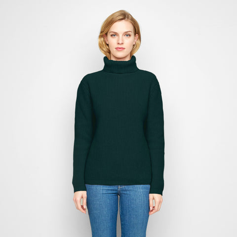 Cashmere Ribbed Turtleneck Sweater - Forest