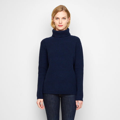 Cashmere Ribbed Turtleneck Sweater - Navy