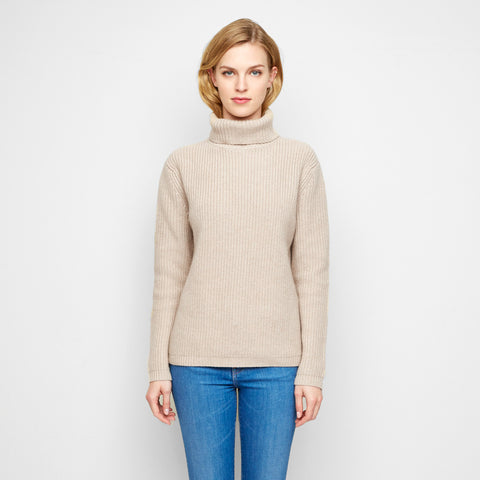 Cashmere Ribbed Turtleneck Sweater - Oatmeal