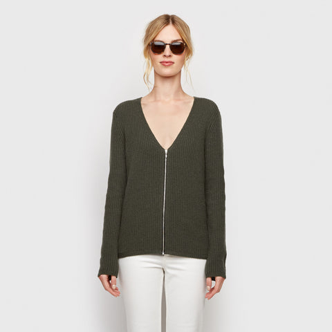 Cashmere Ribbed Zip Cardigan - Military