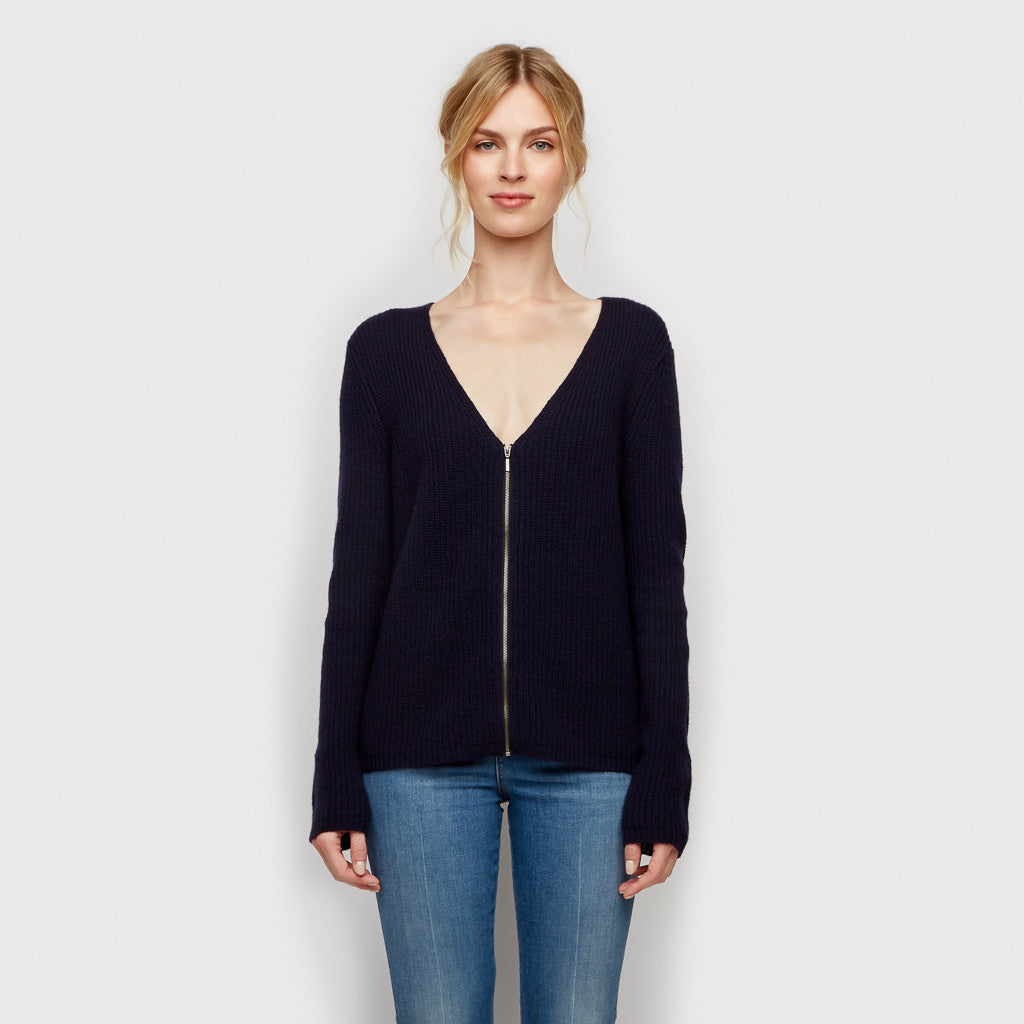 Cashmere Ribbed Zip Cardigan - Navy