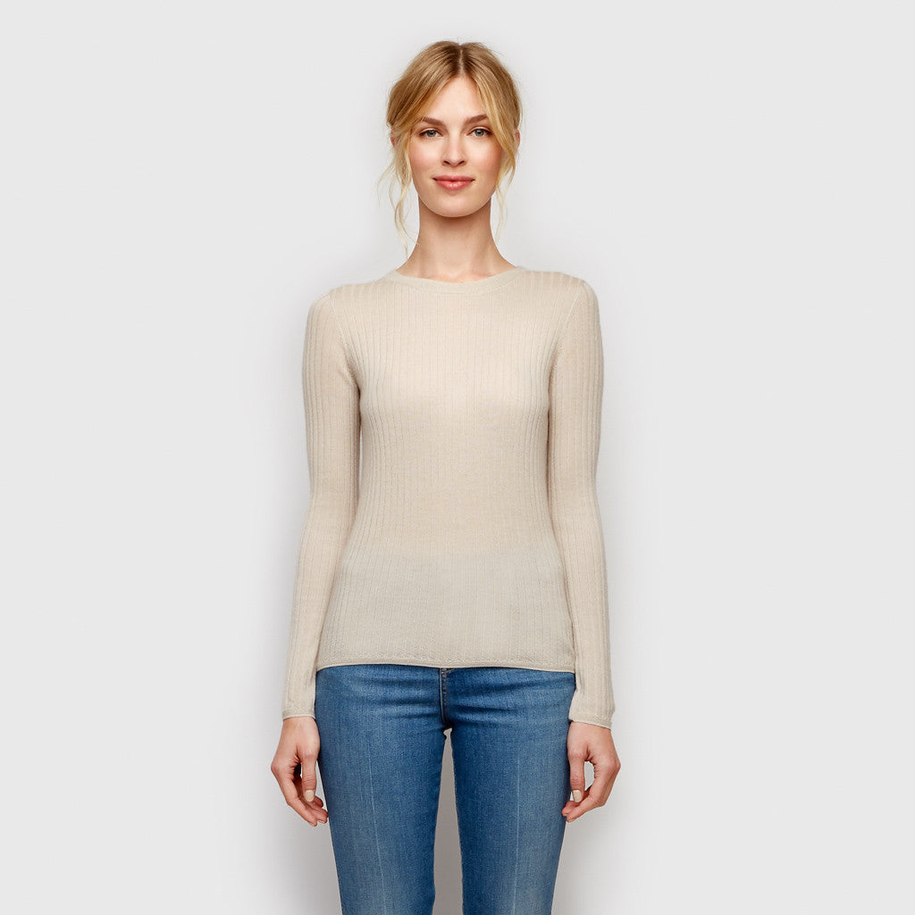 Cashmere Silk Ribbed Shirt - Natural