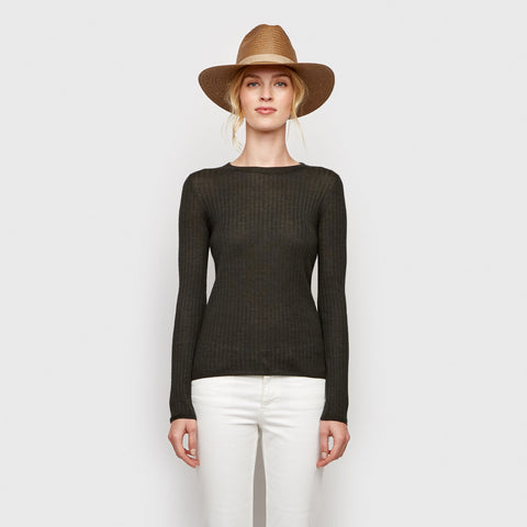 Cashmere Silk Ribbed Shirt - Olive