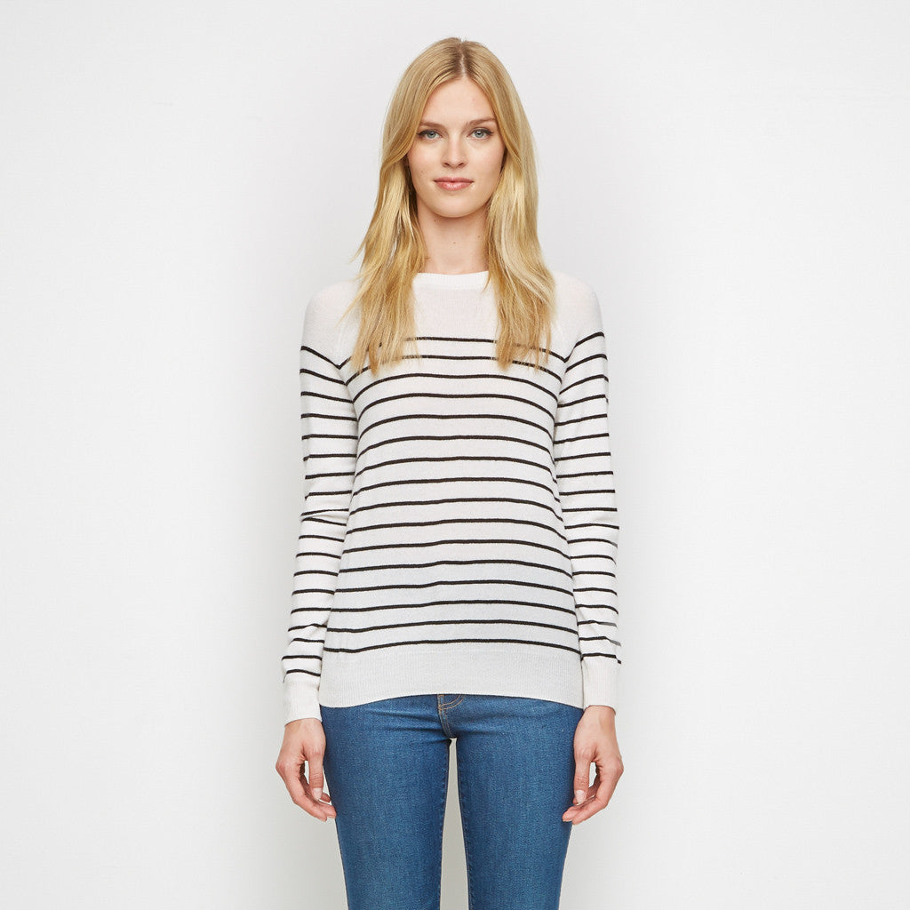 Cashmere Striped Raglan Sweater - Ivory/Navy - Final Sale