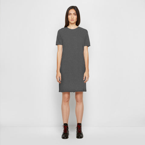 Cashmere Jersey T-Shirt Dress - Charcoal