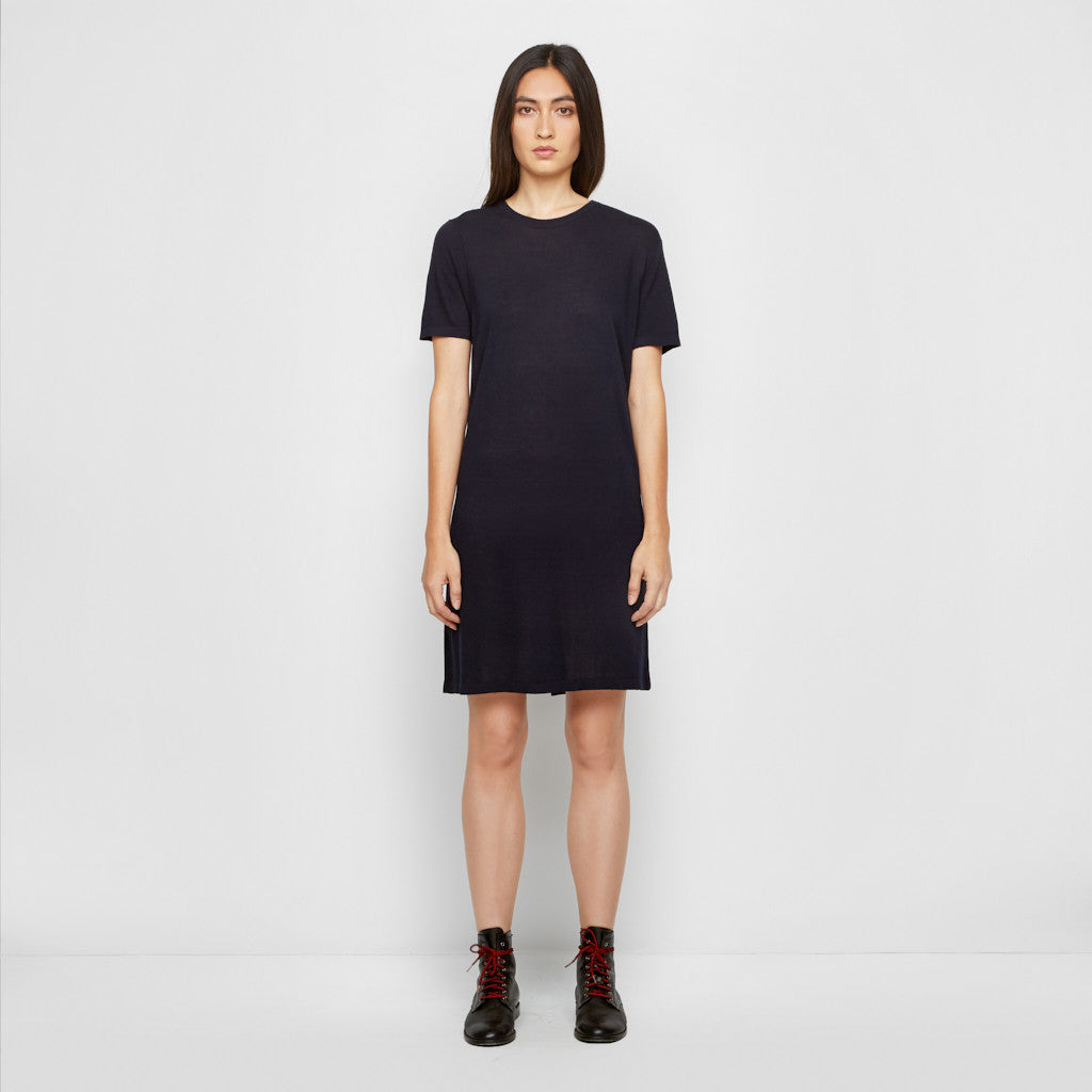 Cashmere Jersey T-Shirt Dress - Navy