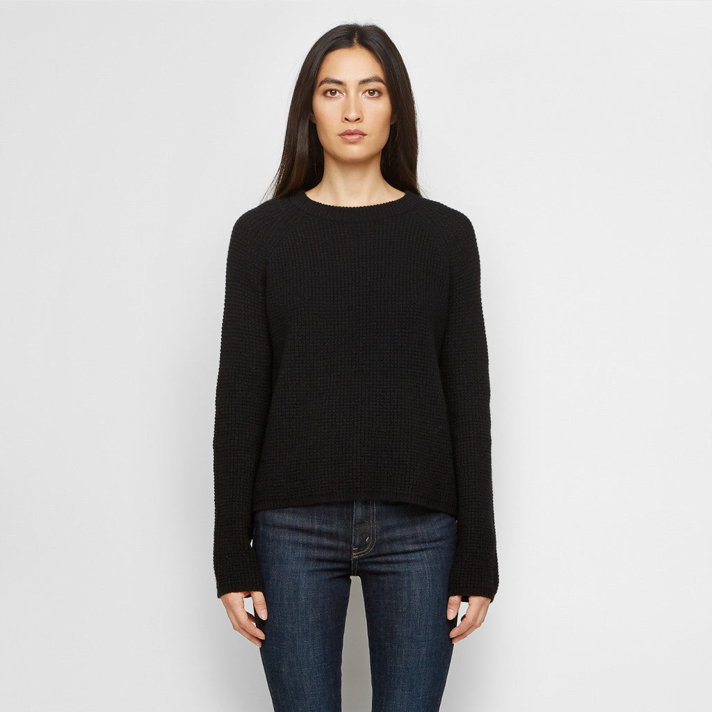 Cashmere Thermal Fisherman Sweater - Black