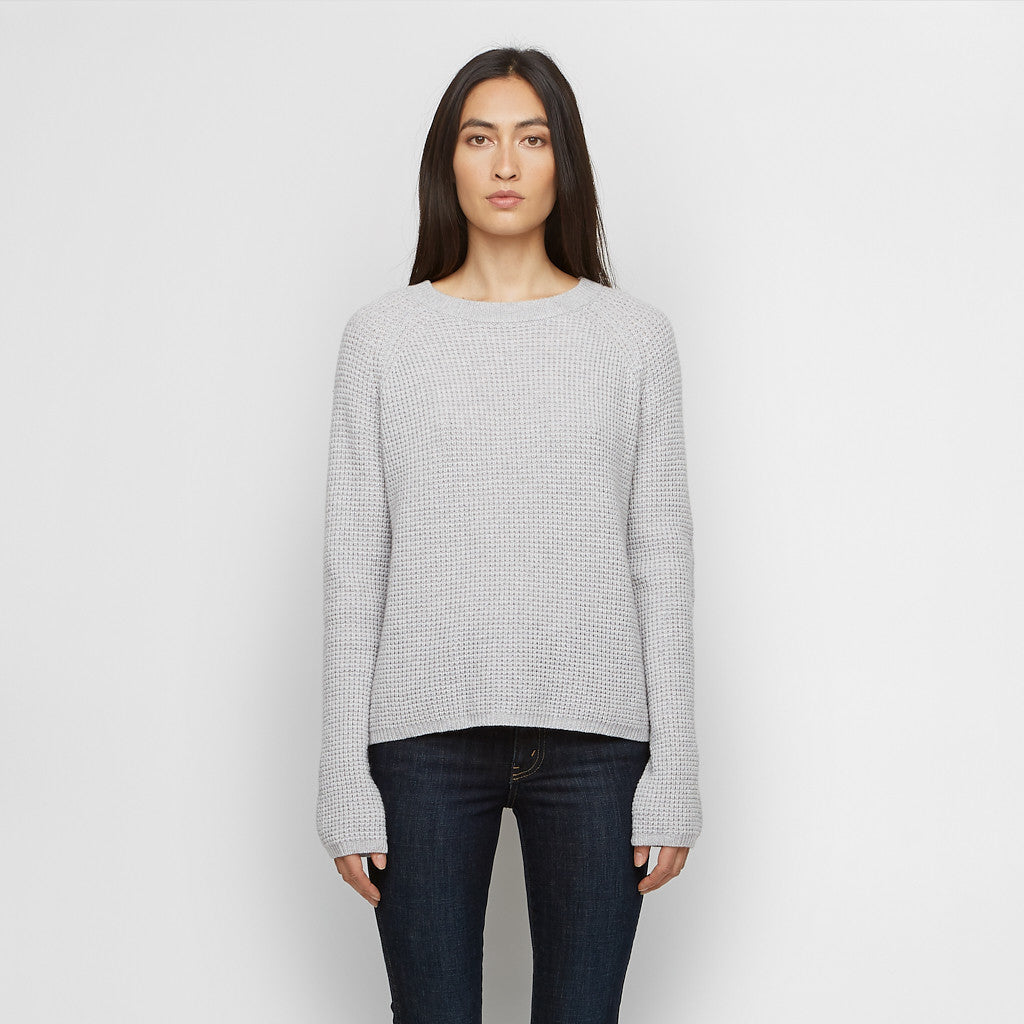 Cashmere Thermal Fisherman Sweater - Light Grey