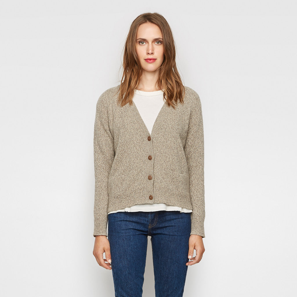 Cashmere V Neck Cropped Cardigan - Heather Brown