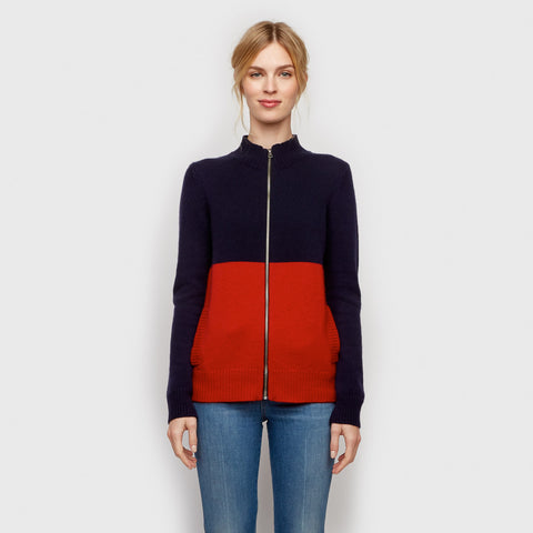 Cashmere Zip Cardigan - Navy/Red