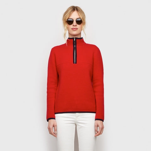 Cashmere Zip Pullover Sweater - Red