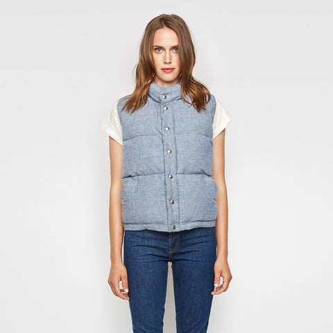 Jenni Kayne x Crescent Down Works Chambray Down Vest - Blue - Final Sale