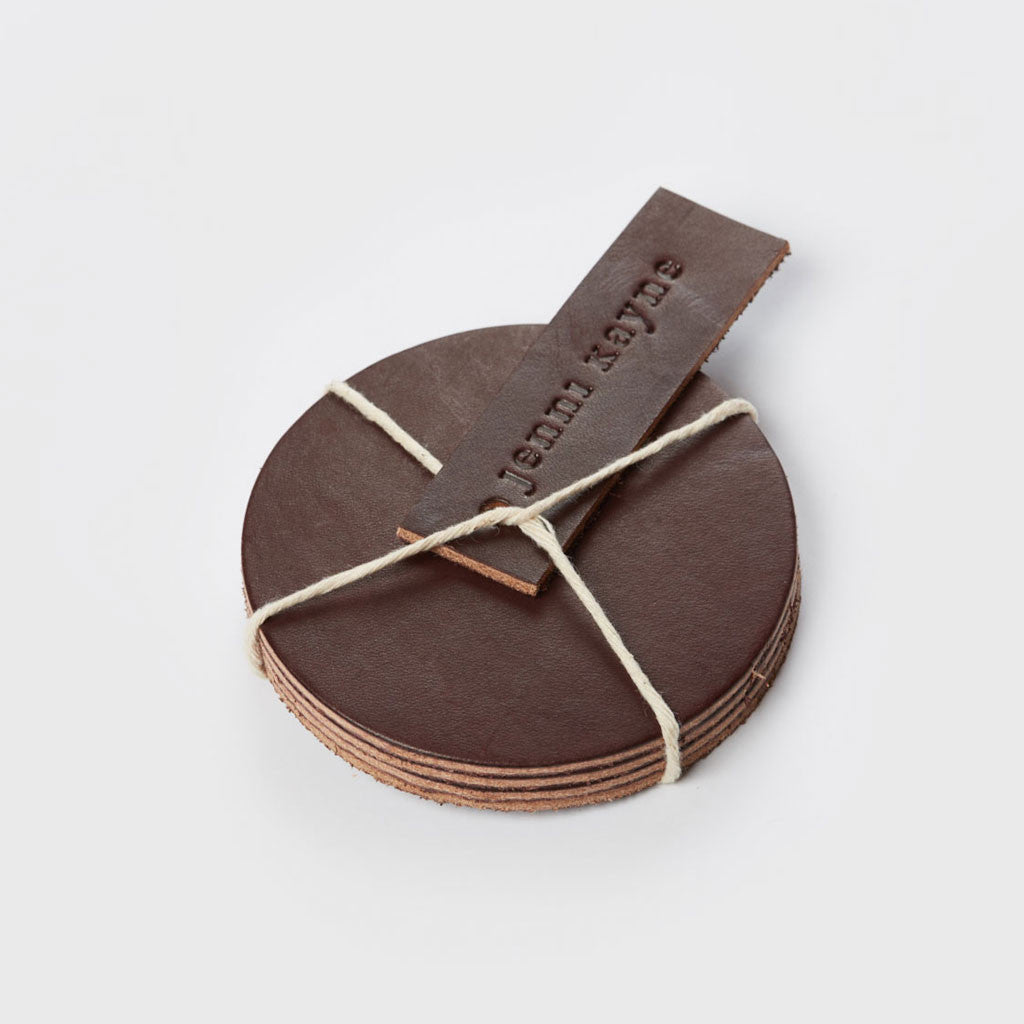 Leather Coasters - Cuban Brown