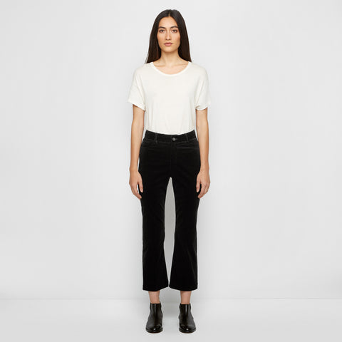 Corduroy Cropped Flare Pant - Black - Final Sale