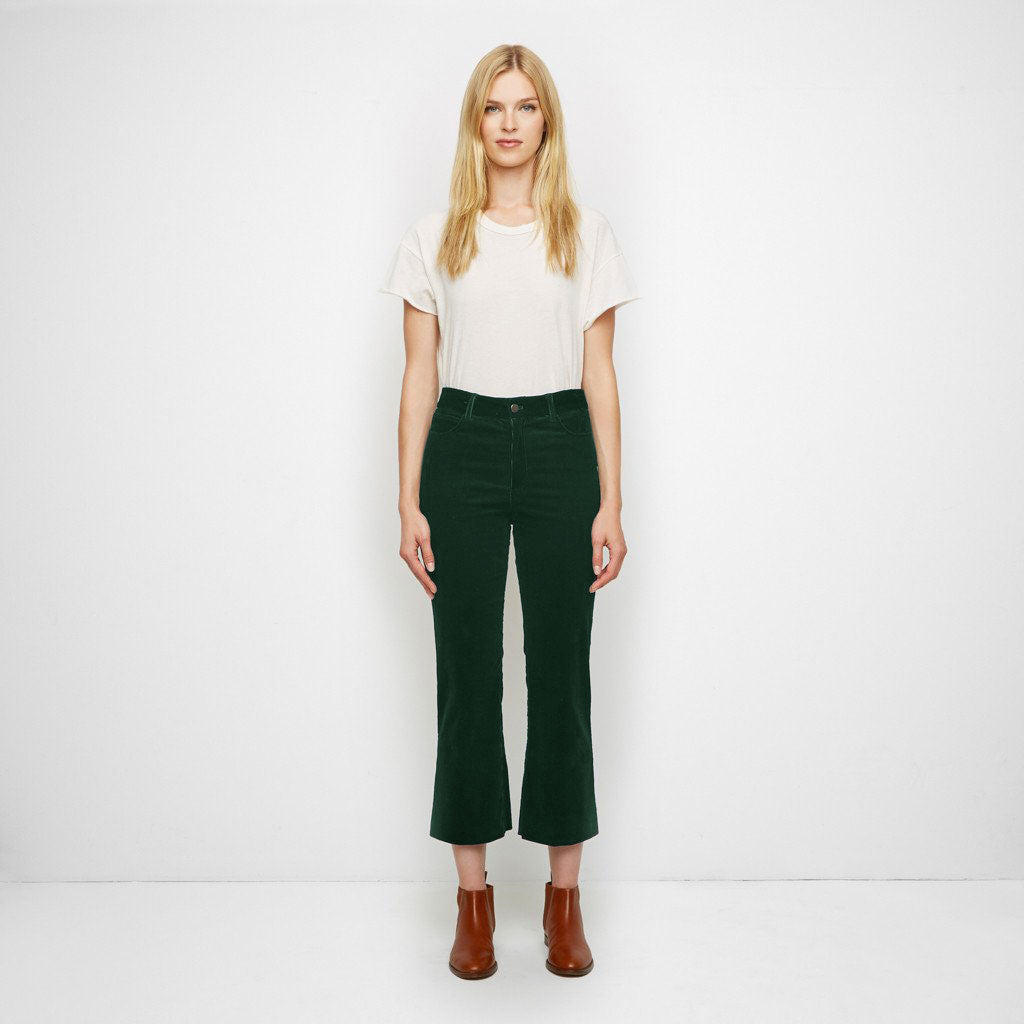 Corduroy Cropped Flare Pant - Forest Green