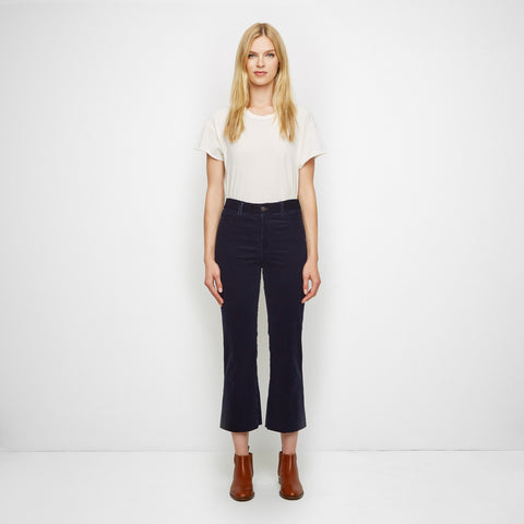 Corduroy Cropped Flare Pant - Navy