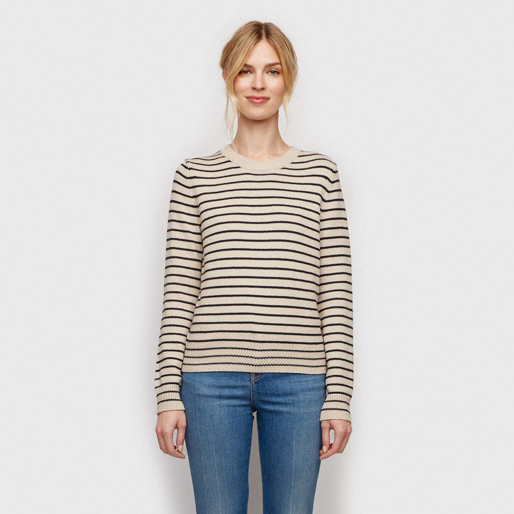 Cotton Cashmere Stripe Sweater - Natural/Navy