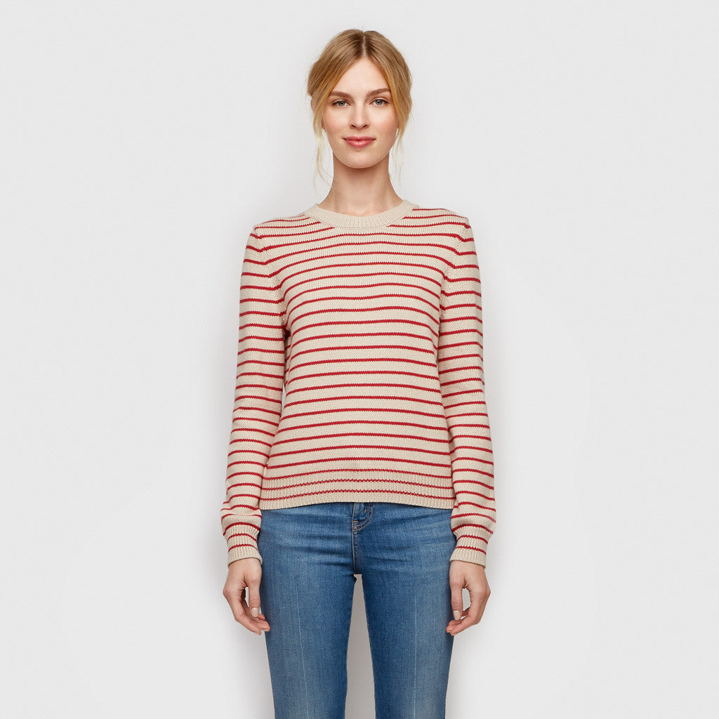 Cotton Cashmere Stripe Sweater - Natural/Red