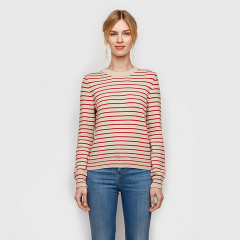 Cotton Cashmere Striped Sweater - Natural/Red