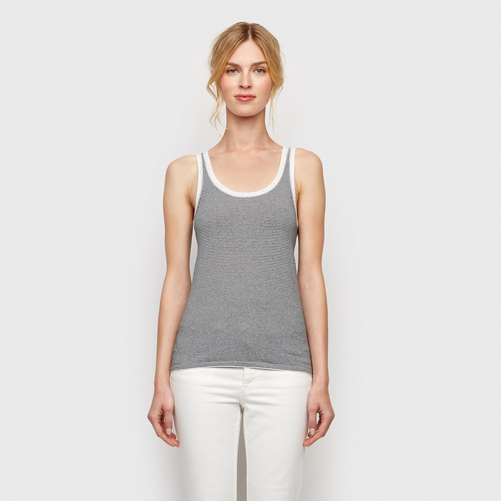 Cotton Cashmere Stripe Tank - Ivory/Navy