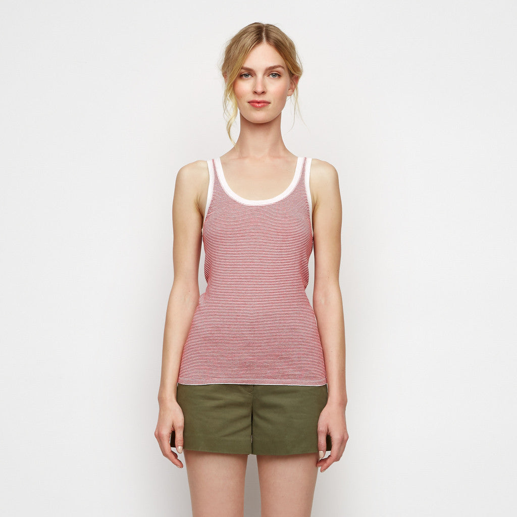 Cotton Cashmere Stripe Tank - Ivory/Red