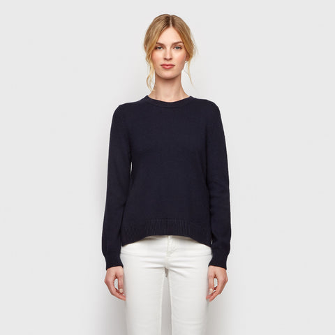 Cotton Cashmere Tie Sweater - Navy