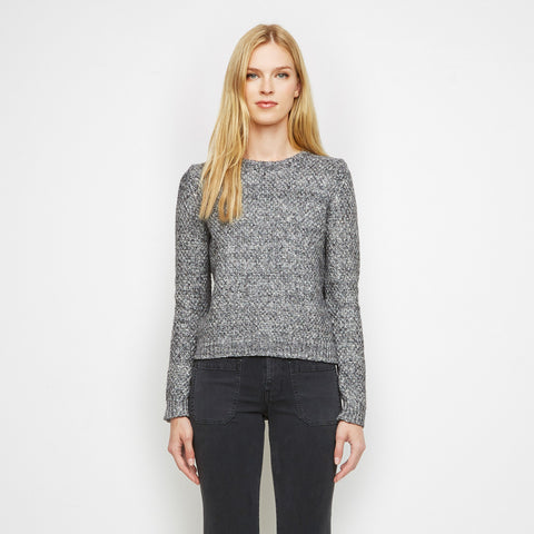 Cotton Linen Textured Crewneck Sweater - Grey - Final Sale