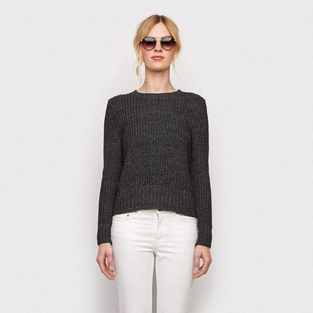 Cotton Ribbed Sweater - Dark Grey