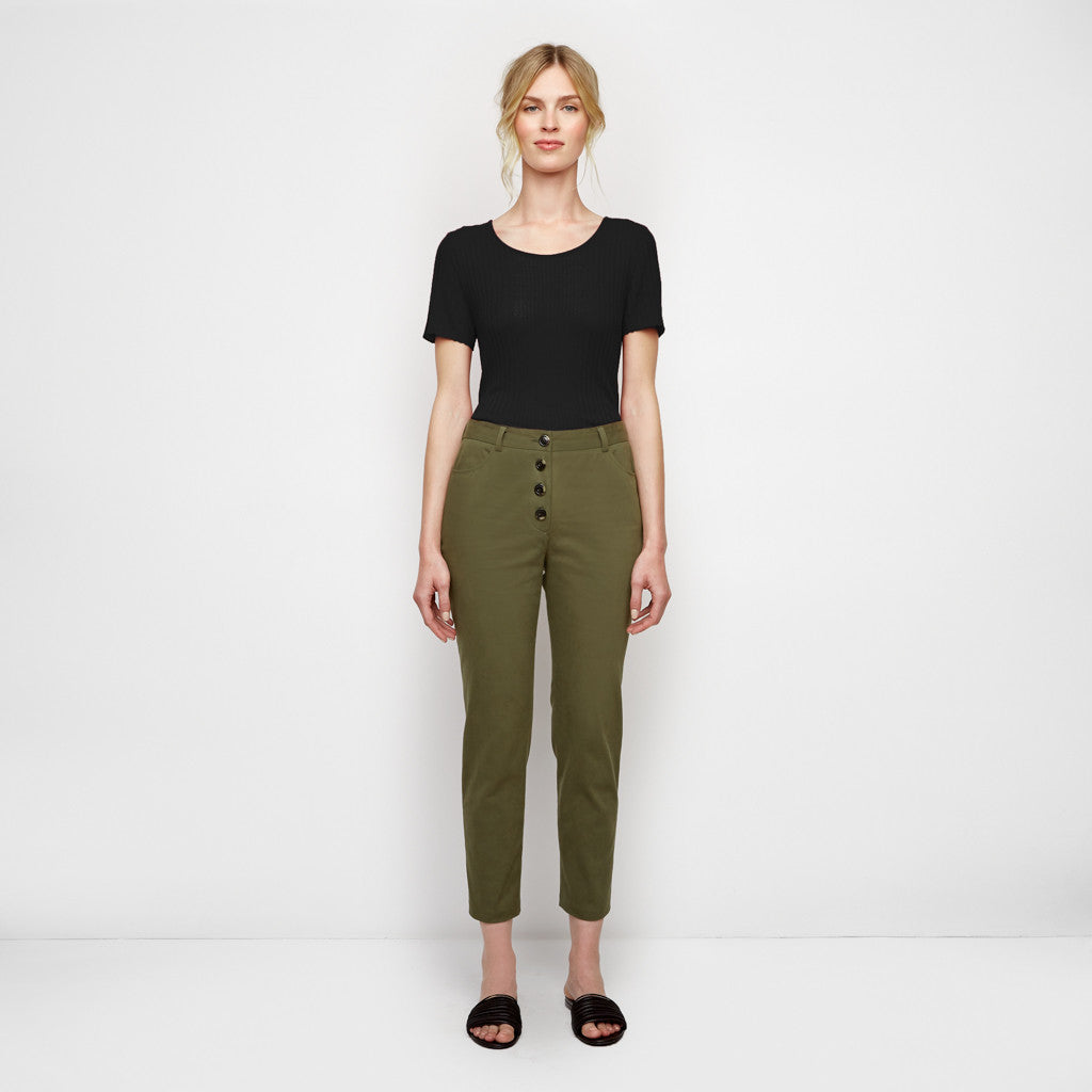 Cotton Twill Bardot Pant - Military