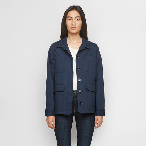 Cotton Twill Military Jacket - Navy - Final Sale