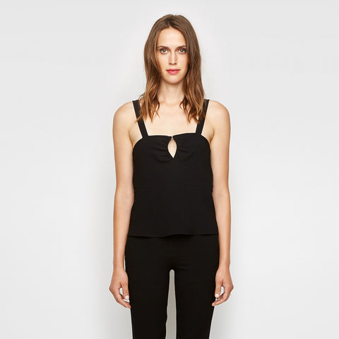 Crepe Keyhole Tank - Black - Final Sale