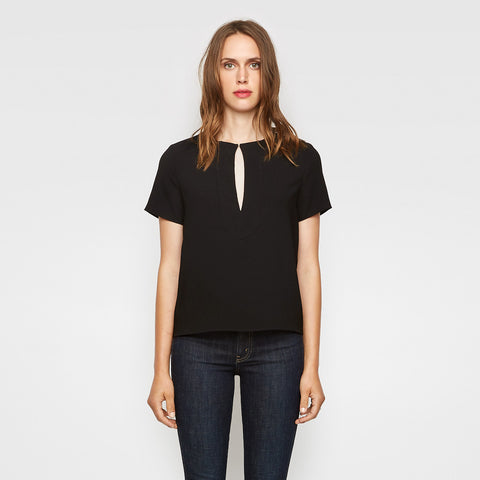Crepe Keyhole Tee - Black - Final Sale